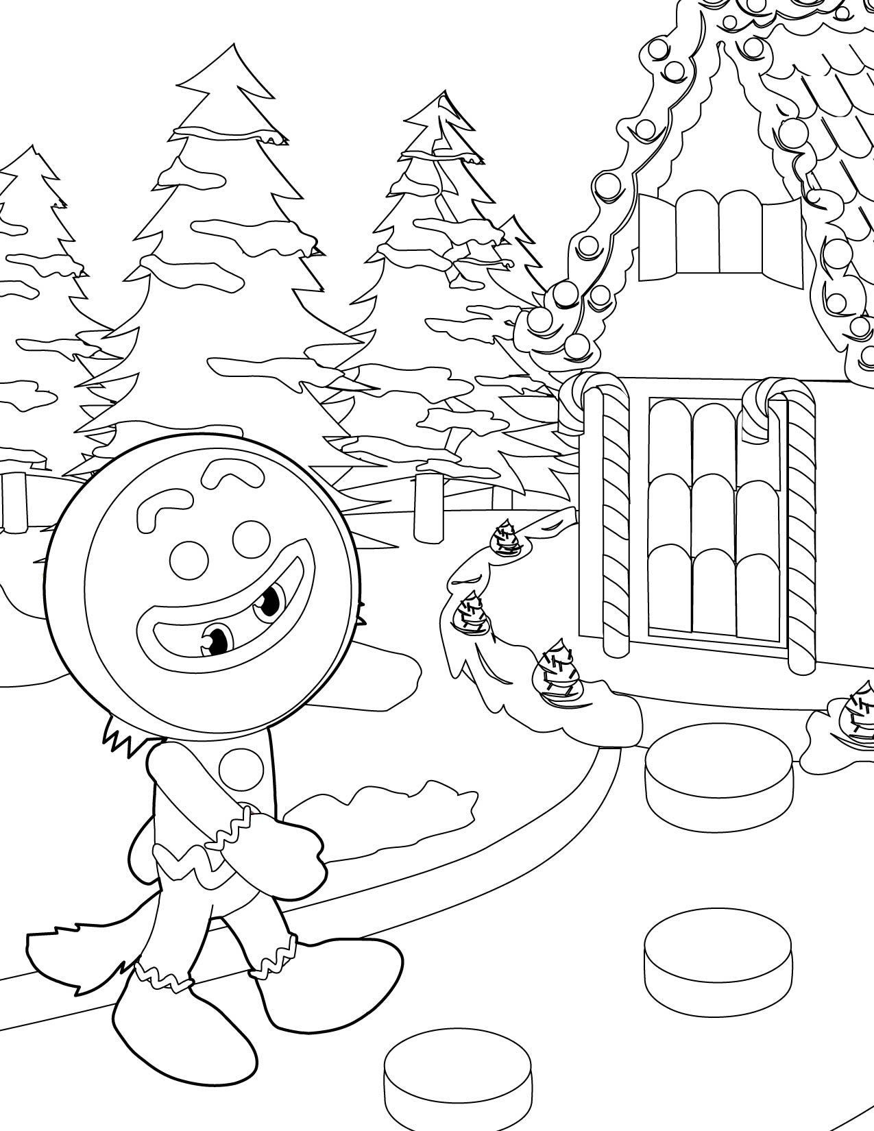Printable coloring pages gingerbread house - Gingerbread Houses Coloring Pages