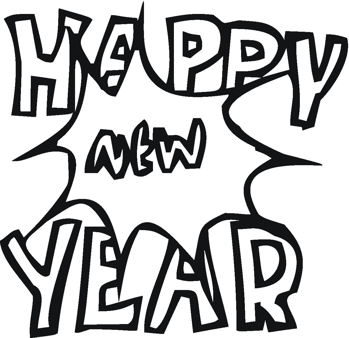 Free coloring pages new years - Happy New Year Coloring Pages To Print