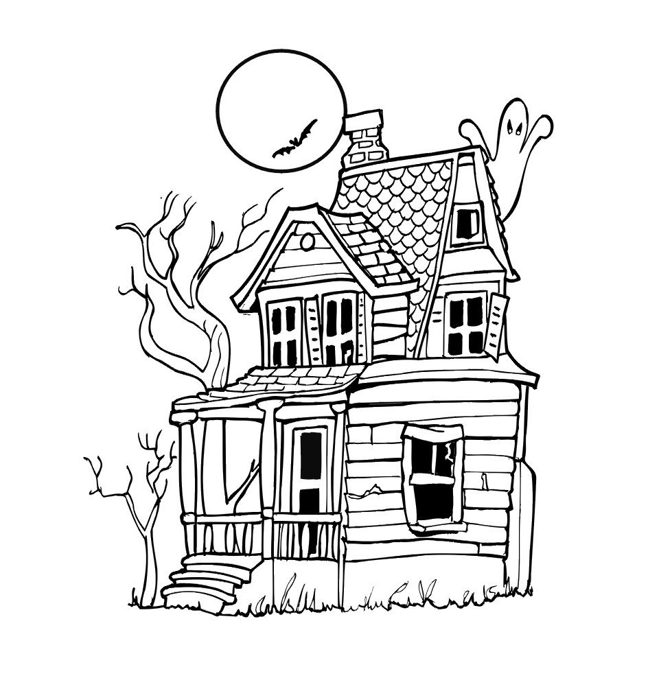 Free coloring pages houses and homes - Haunted House Coloring Pages Printable