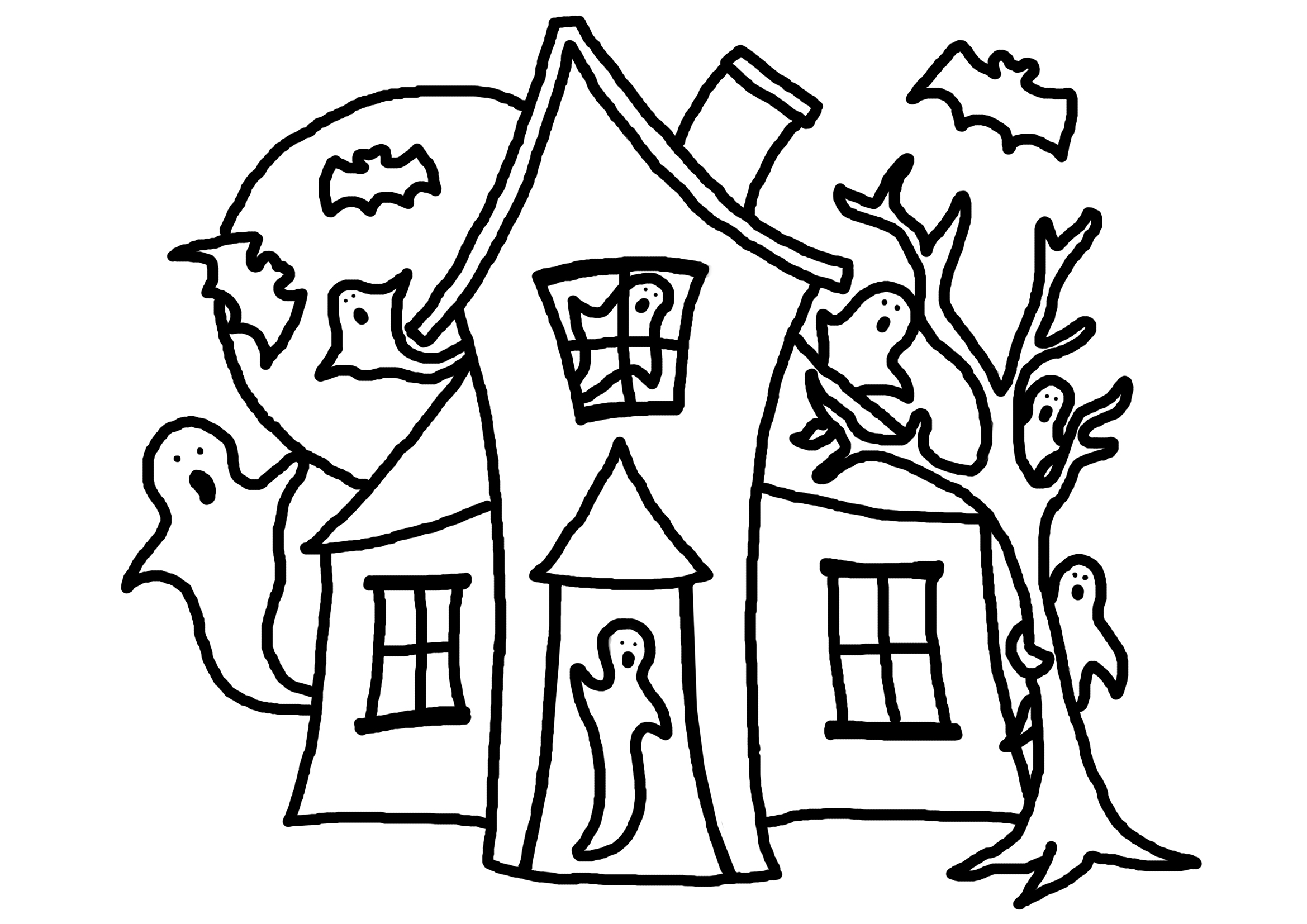 Free coloring pages houses and homes - Haunted House Coloring Pages