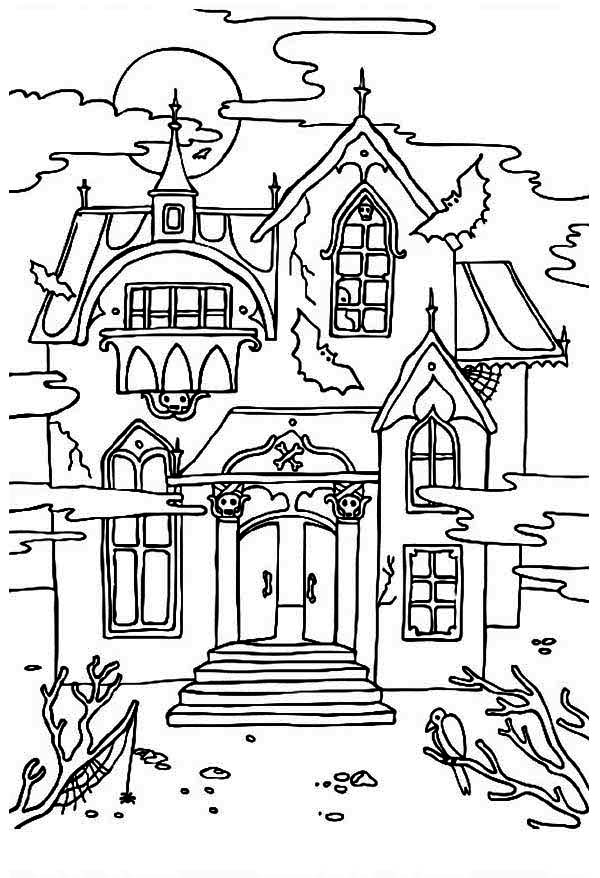 scary halloween house coloring pages - photo#12