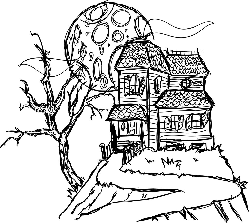 scary halloween house coloring pages - photo#25