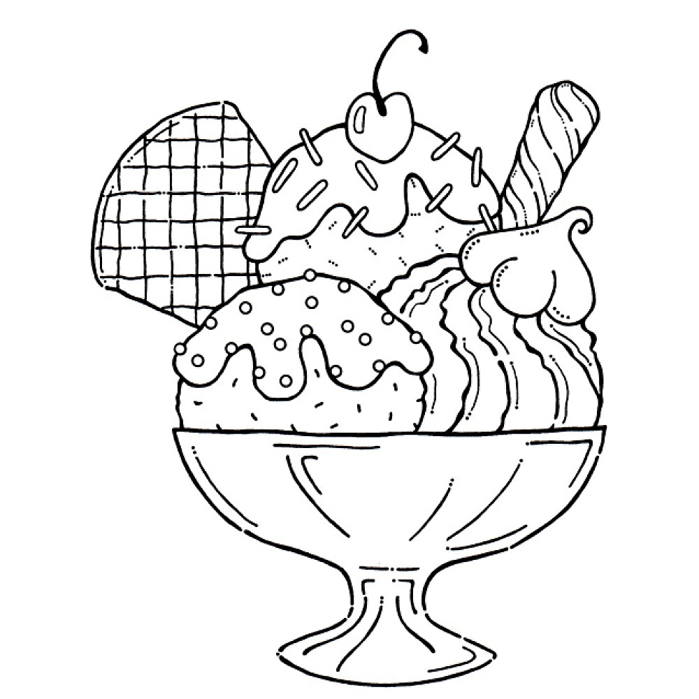 ice cream sundae coloring pages - Coloring Page Ice Cream Cone