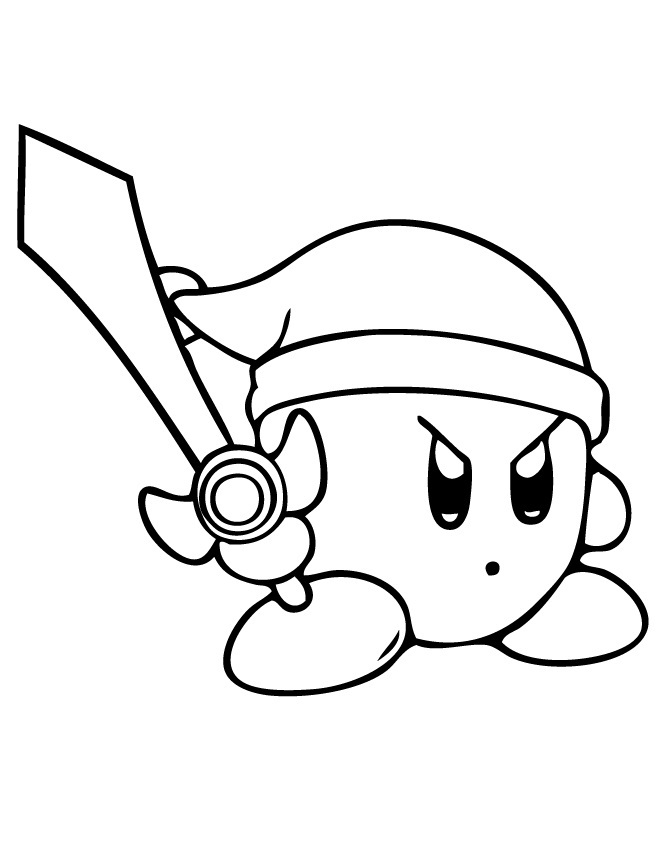 Sword Kirby Drawing Kirby Sword Coloring Pages