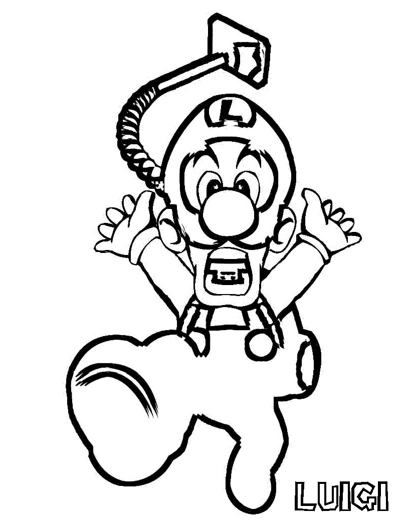 Free printable luigi coloring pages for kids for Mario color page