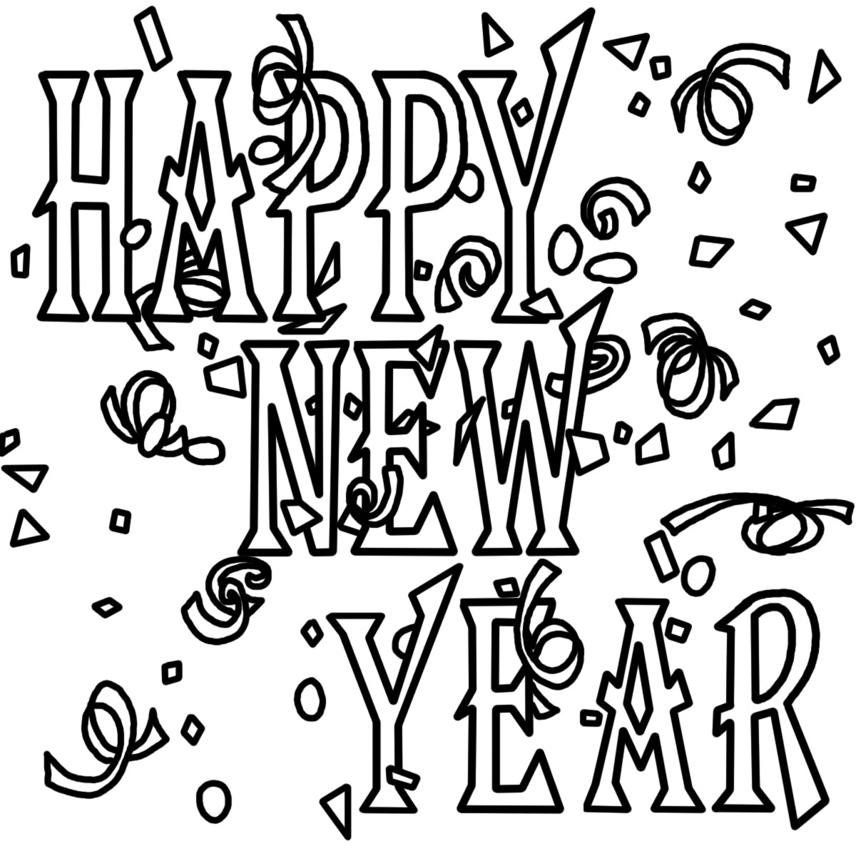 Free coloring pages new years - New Year Coloring Page