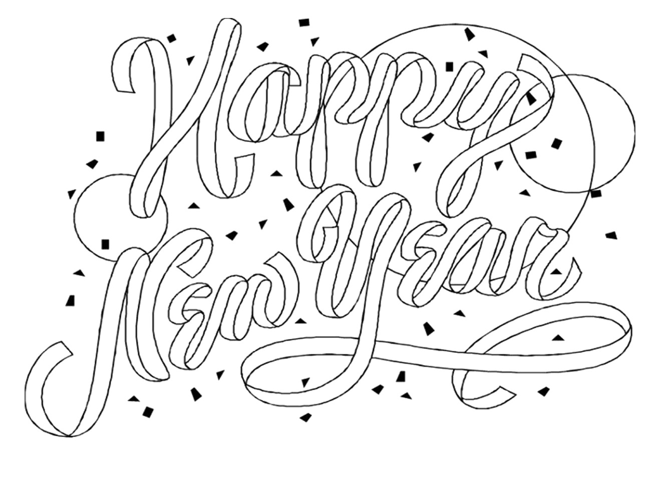 Free coloring pages new years - New Year Coloring Pages