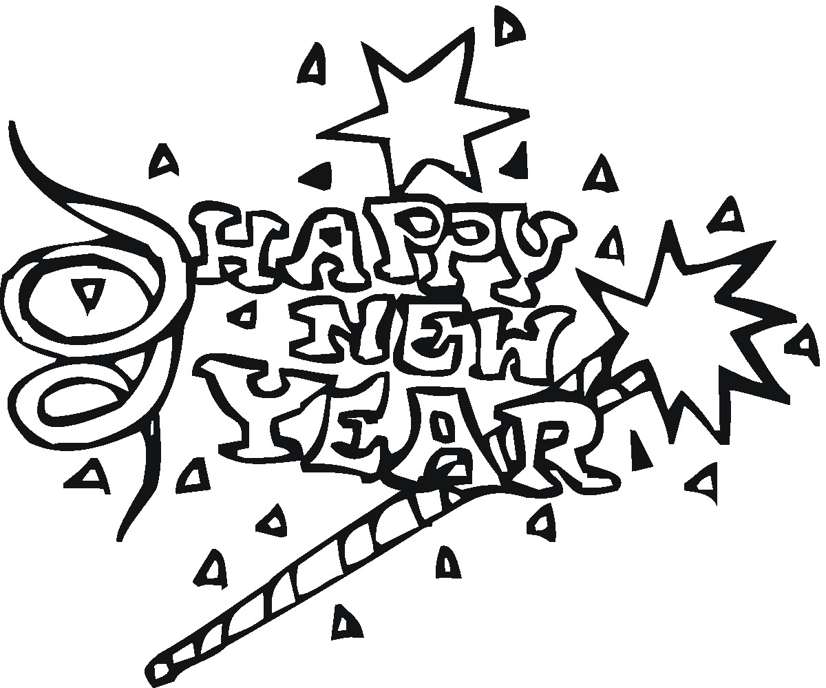 Free coloring pages new years - New Years Coloring Page