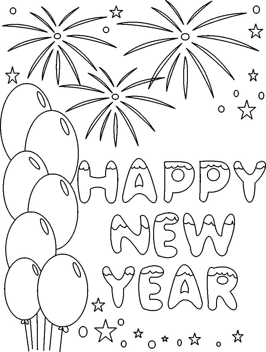 Free coloring pages new years - New Years Coloring Pages