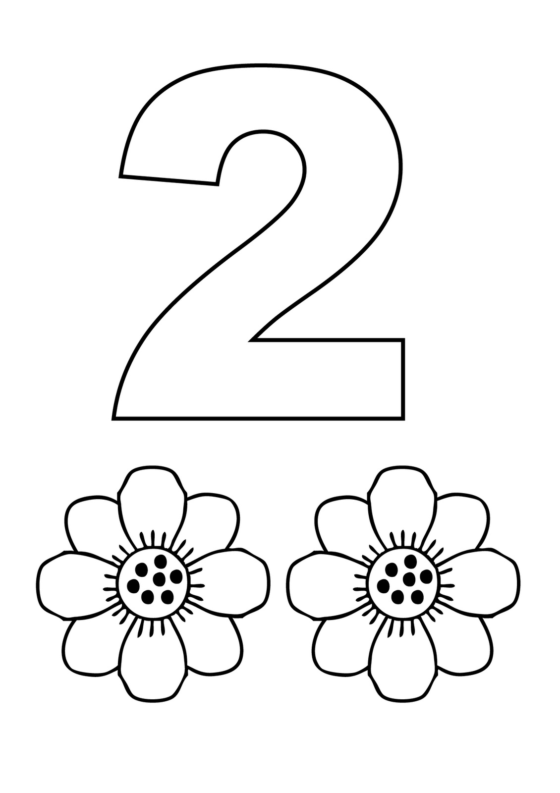 Number 2 coloring pages - Number 2 Coloring Page 2 Coloring Page