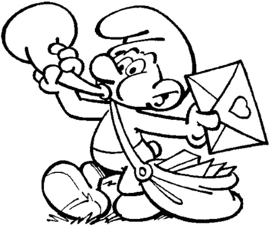 Postman Smurf Coloring Pages
