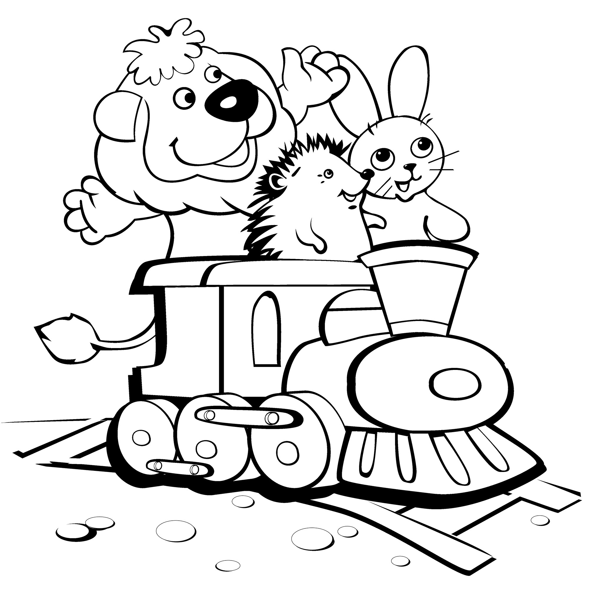 Coloring pages trains for kids - Printable Funny Coloring Page