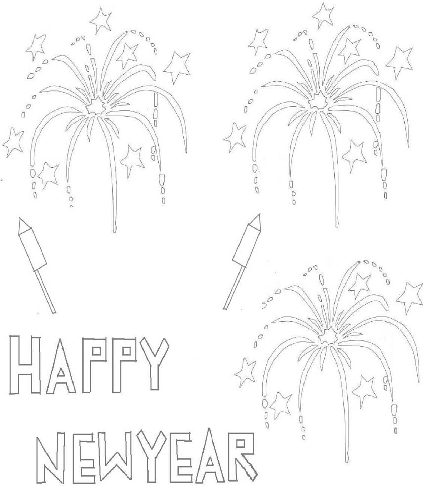Free coloring pages new years - Printable Happy New Year Coloring Pages