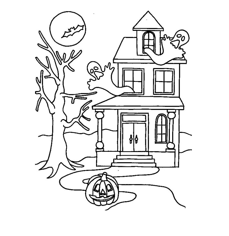 Printable Haunted House Coloring Pages