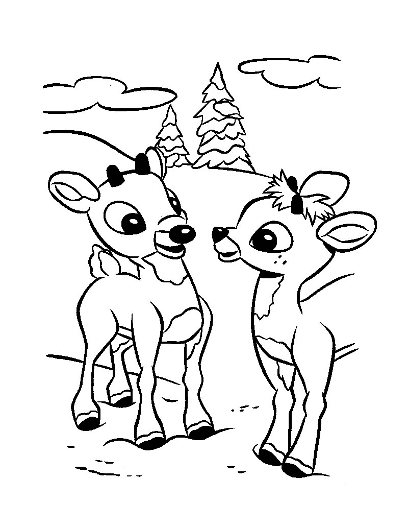 Free printable rudolph coloring pages for kids for Santa with reindeer coloring pages
