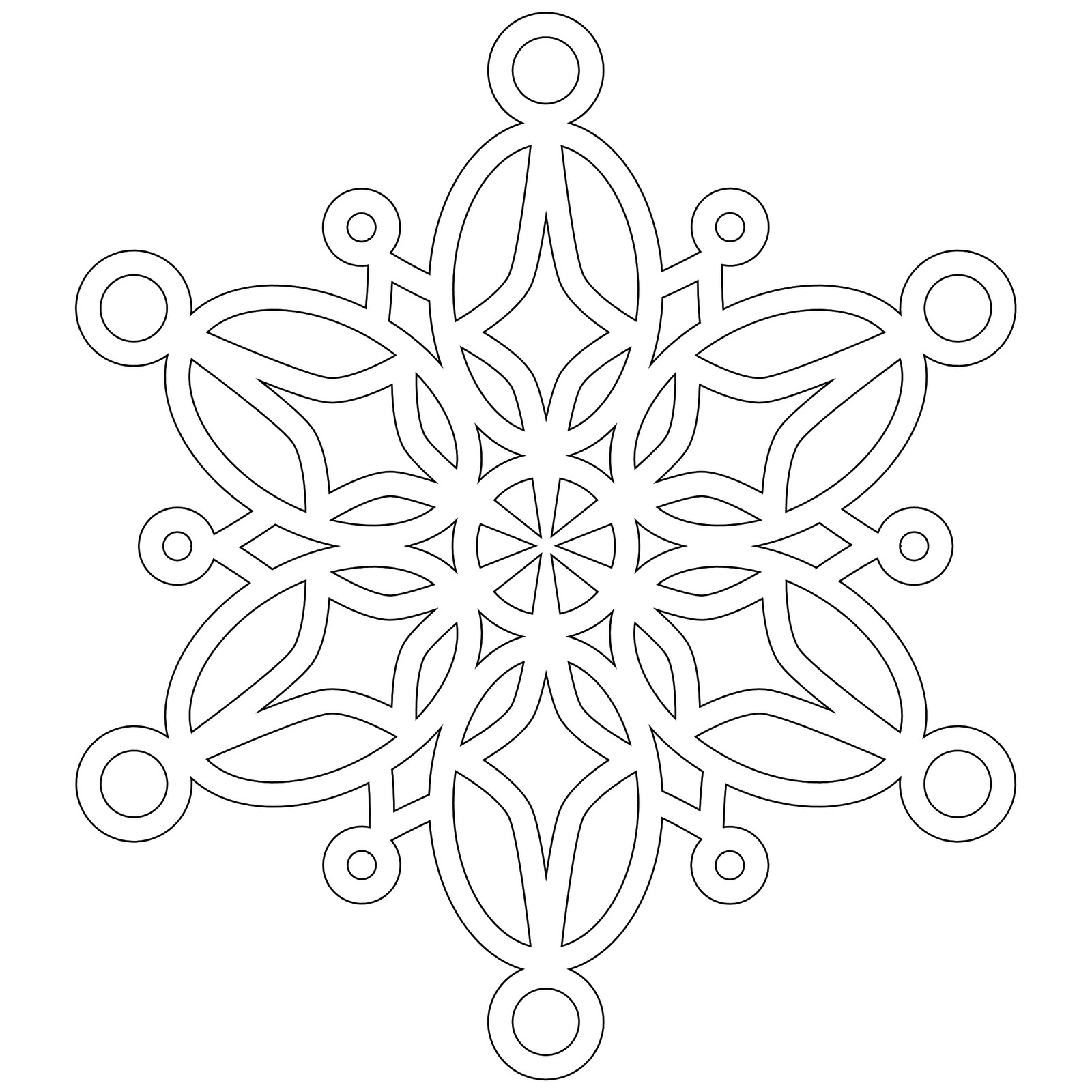 This is a picture of Fan Snowflakes Coloring Pages Printable