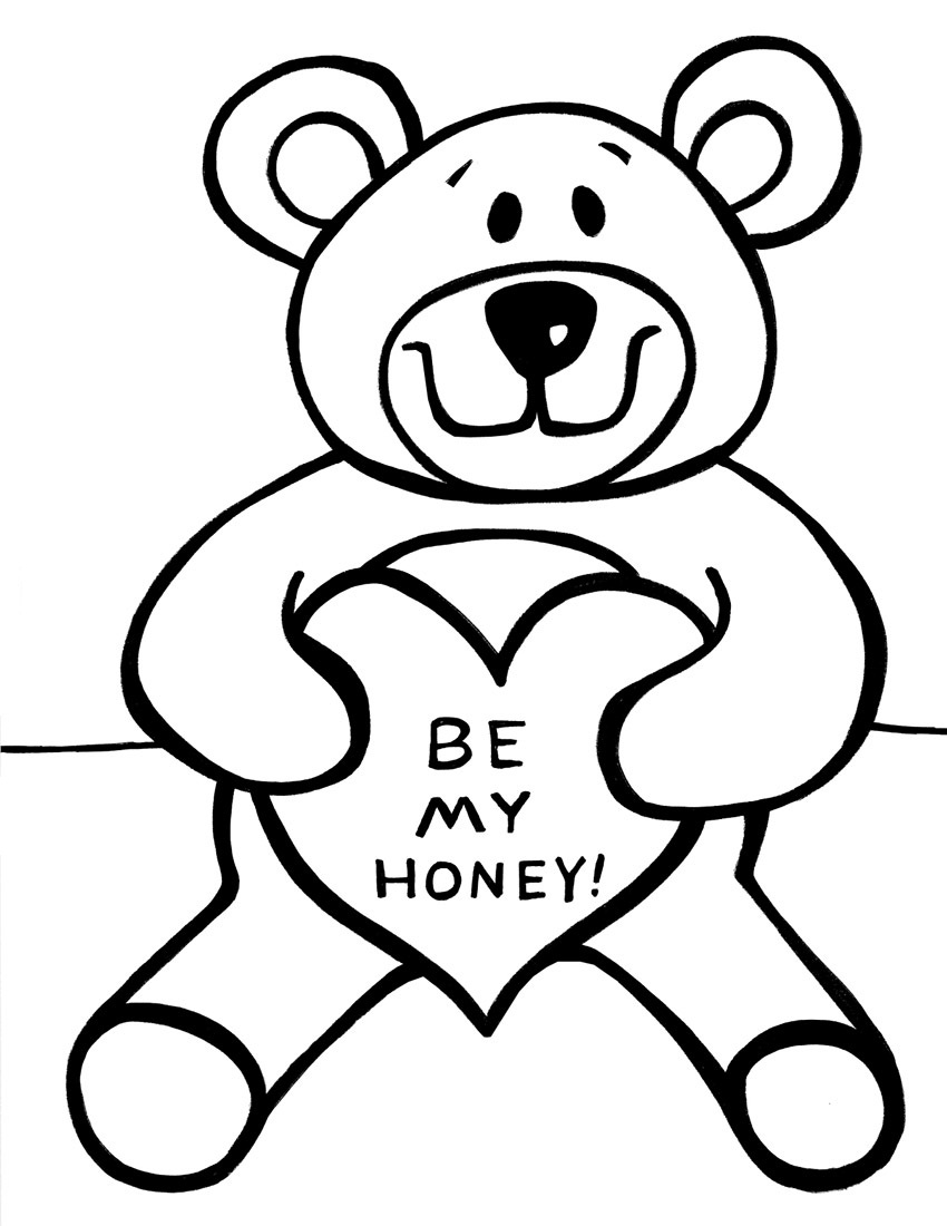 teddy bear heart coloring pages - photo#33
