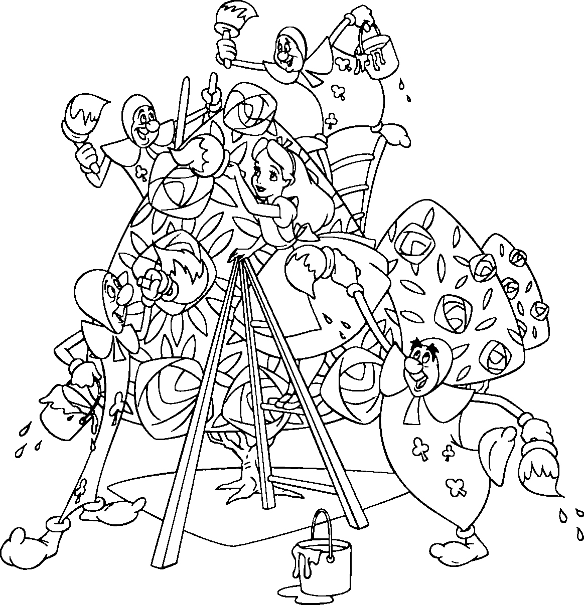 alice in wonderland coloring page - Alice Wonderland Coloring Page