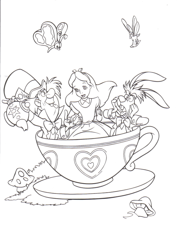 alice in wonderland coloring pages to print - Alice Wonderland Coloring Page