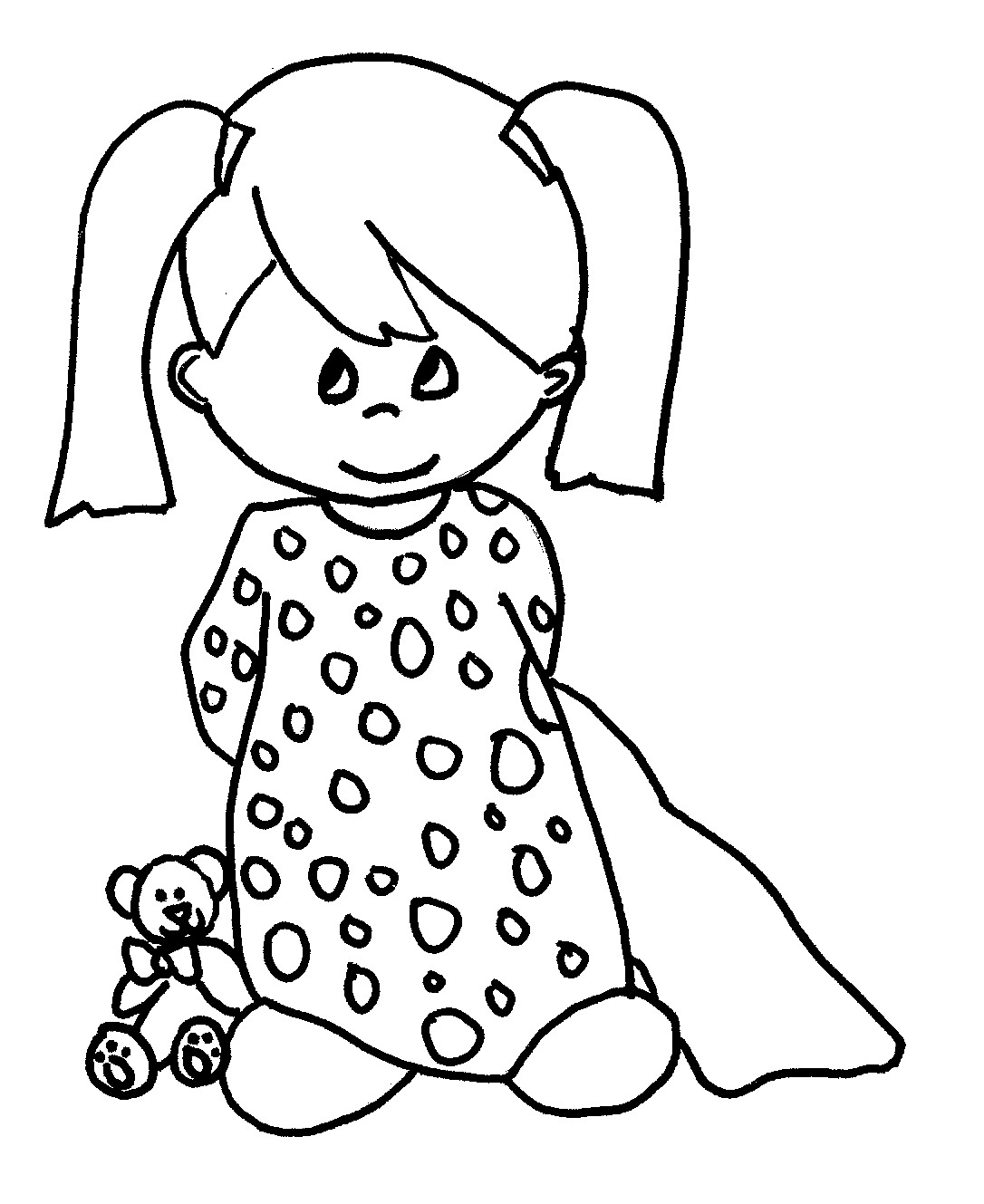 Free printable baby coloring pages for kids for Little girls coloring pages