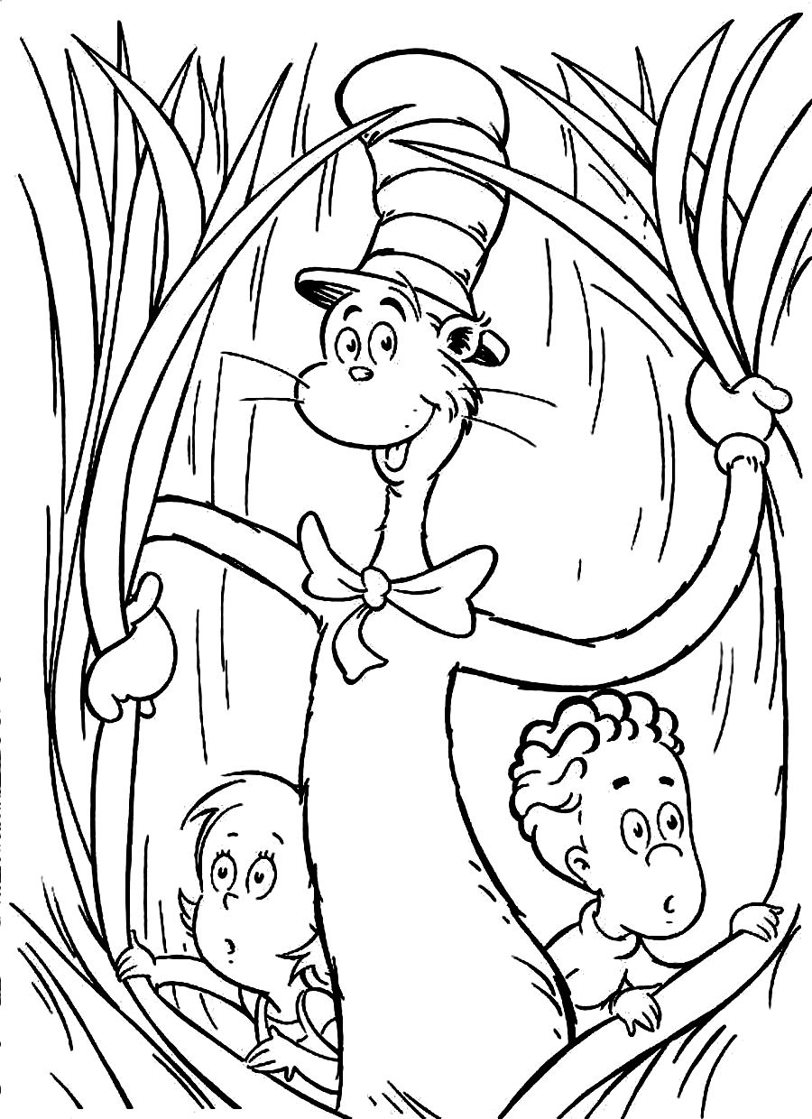 This is a graphic of Delicate The Cat in the Hat Coloring Pages Printable