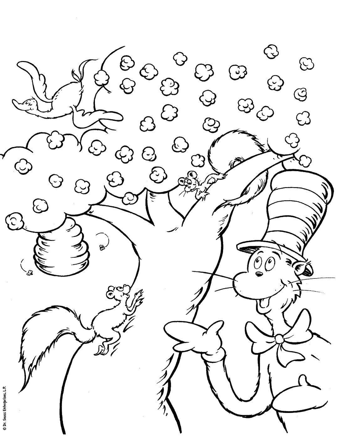 It is a picture of Shocking The Cat in the Hat Coloring Pages Printable