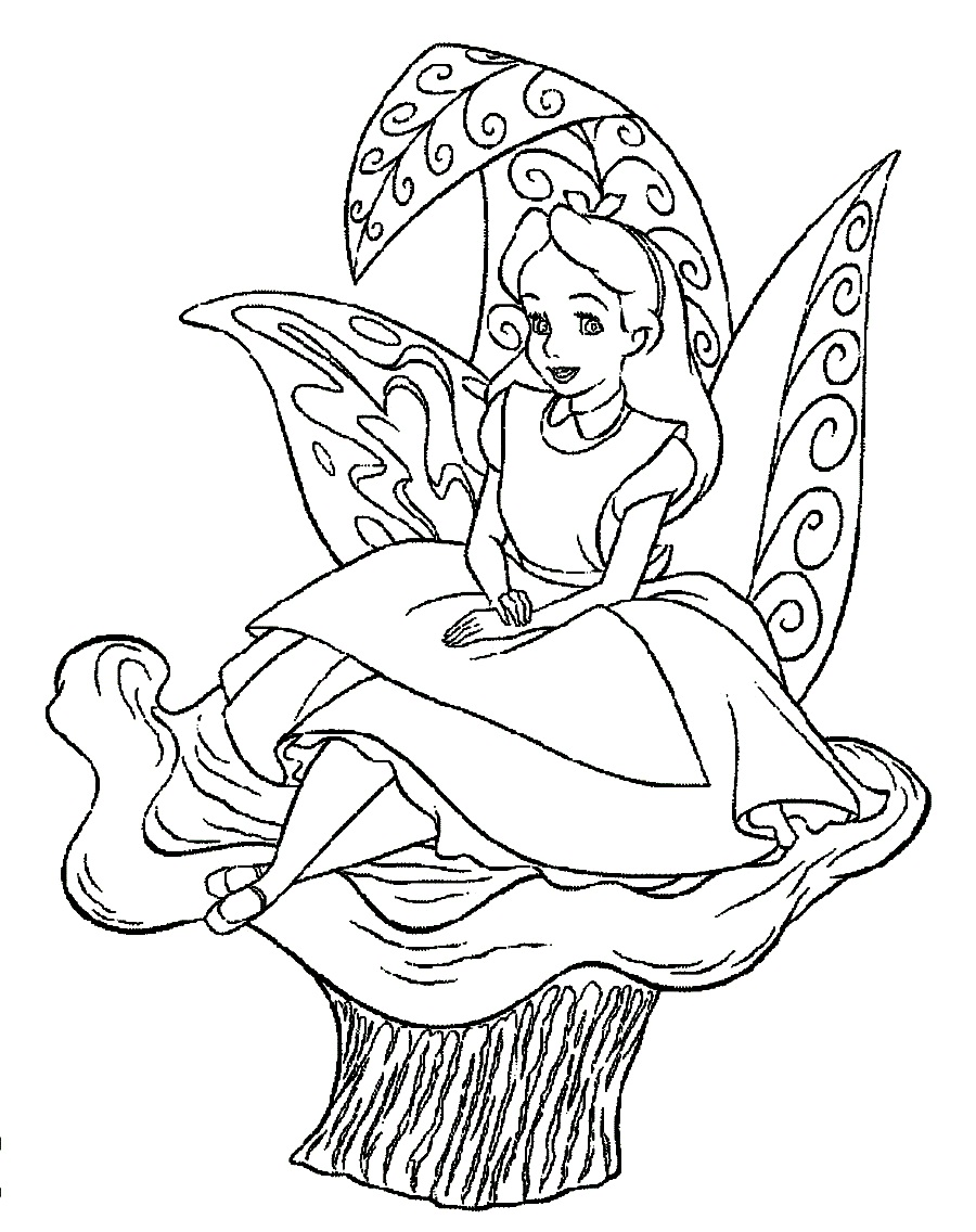 coloring pages of alice in wonderland - Alice Wonderland Coloring Page