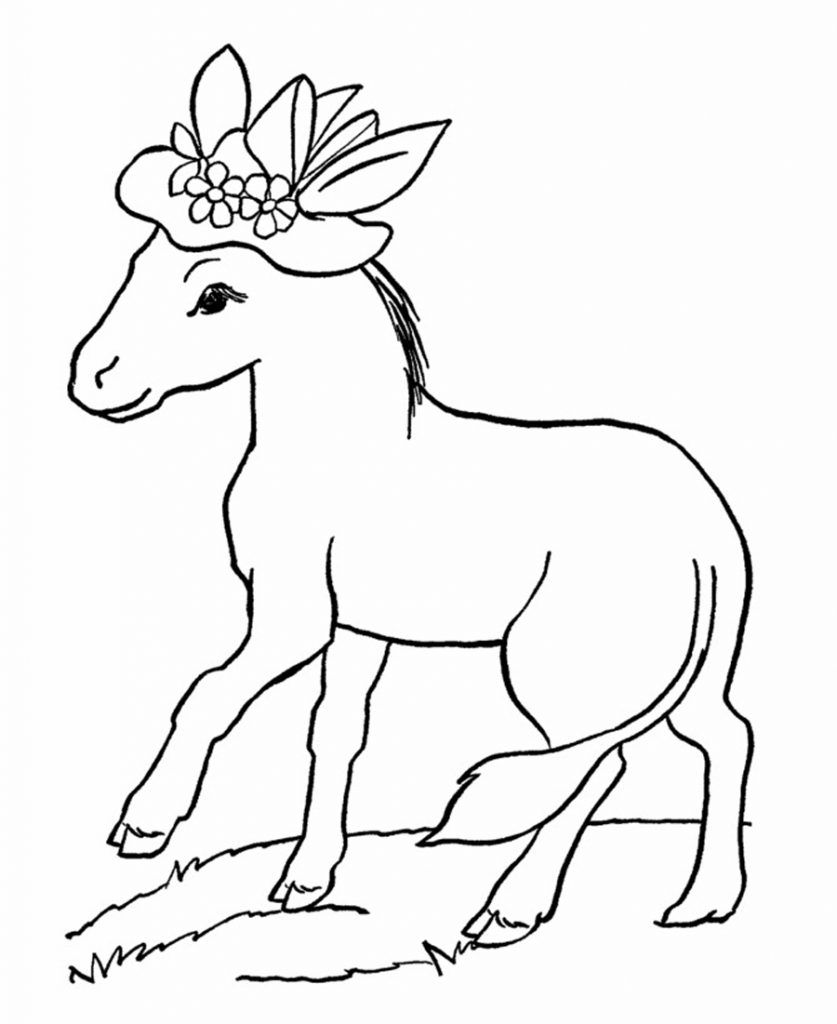 Free printable donkey coloring pages for kids for Free animal coloring pages kids