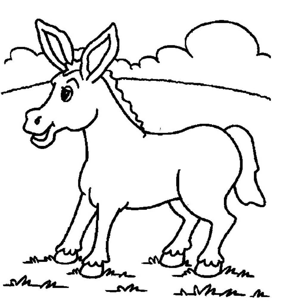 free donkey coloring pages - Donkey Coloring Pages