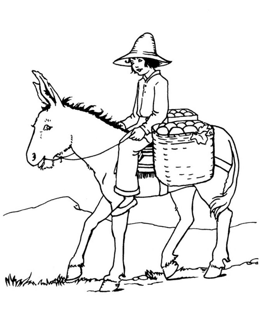 Free Printable Donkey Coloring
