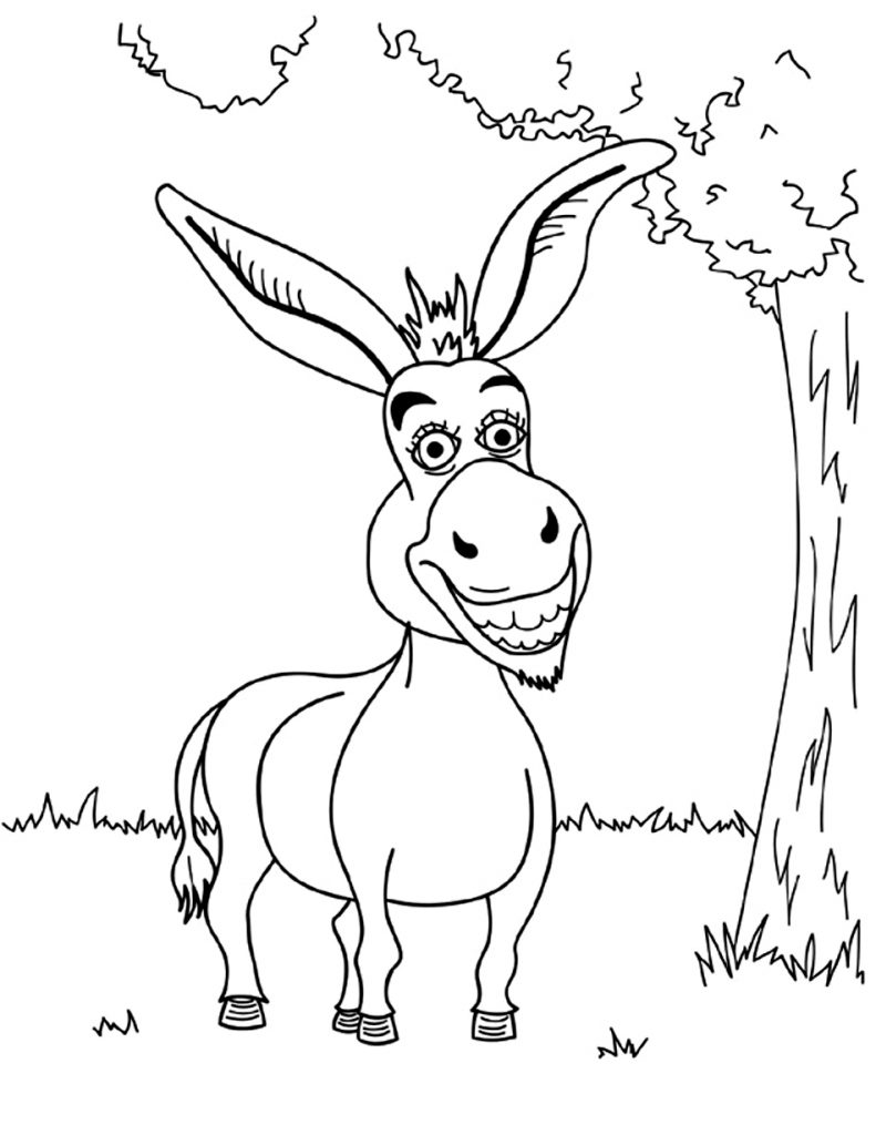 Funny Donkey Coloring Pages