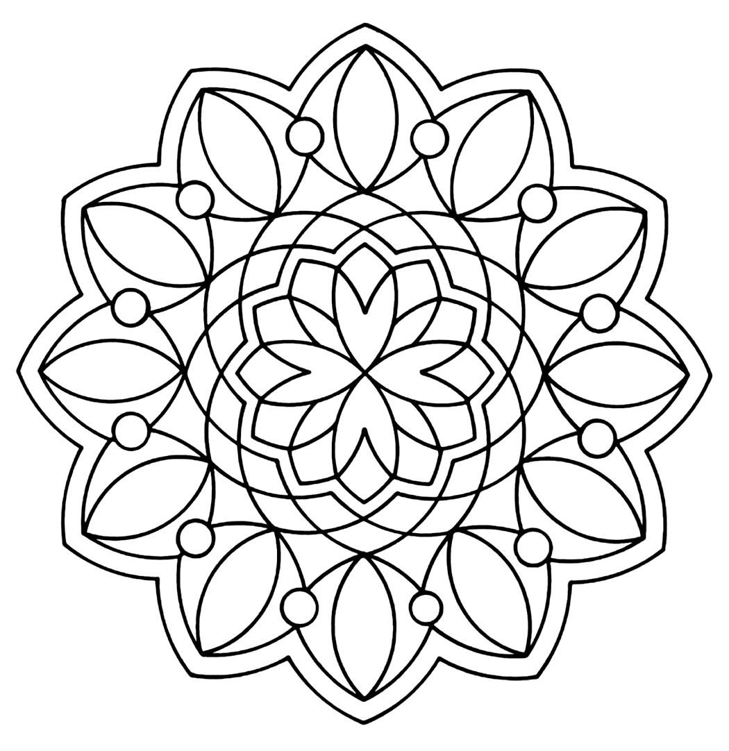 Free printable geometric coloring pages for kids for Mandala coloring pages printable free