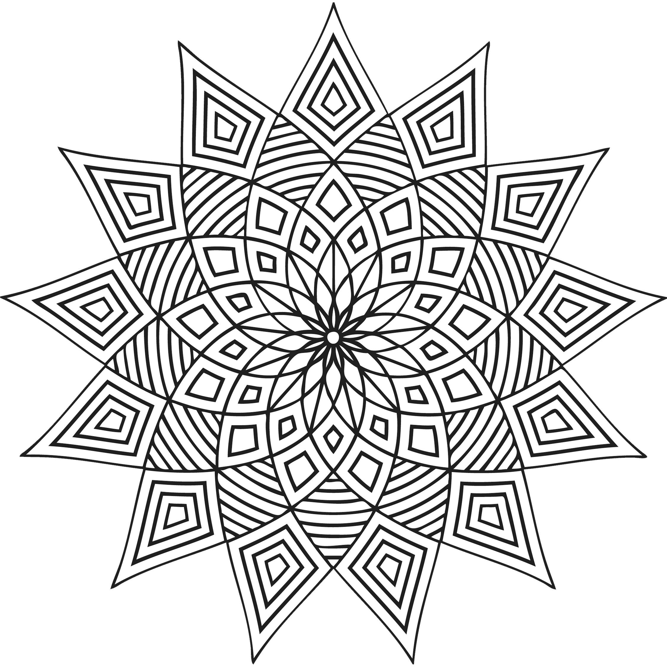 Lively image with printable geometric coloring pages