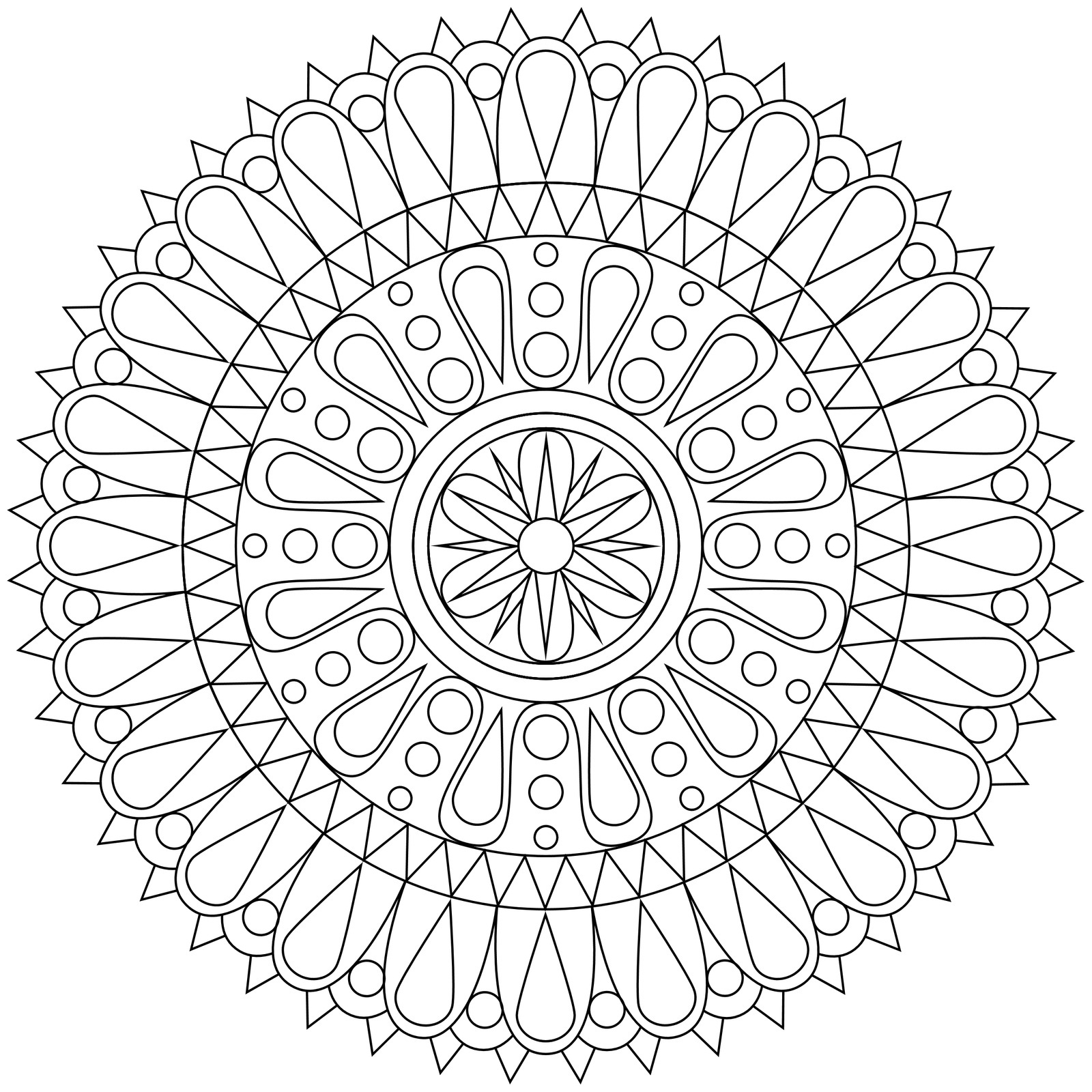 Free printable geometric coloring pages for kids for Adult coloring pages mandala