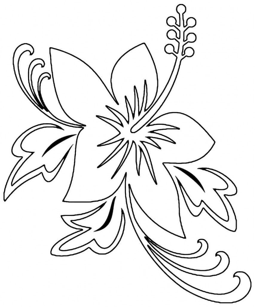 galerry printable hibiscus flower coloring pages