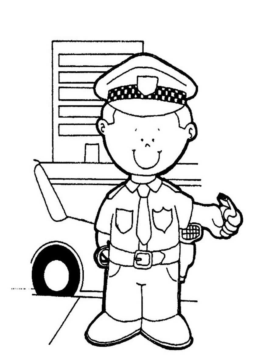policeman coloring pages kids - photo#1