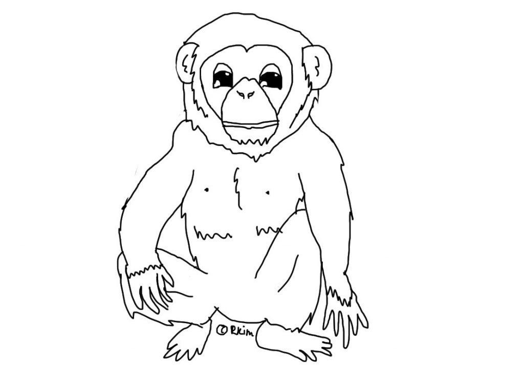 Printable Chimpanzee Coloring Pages