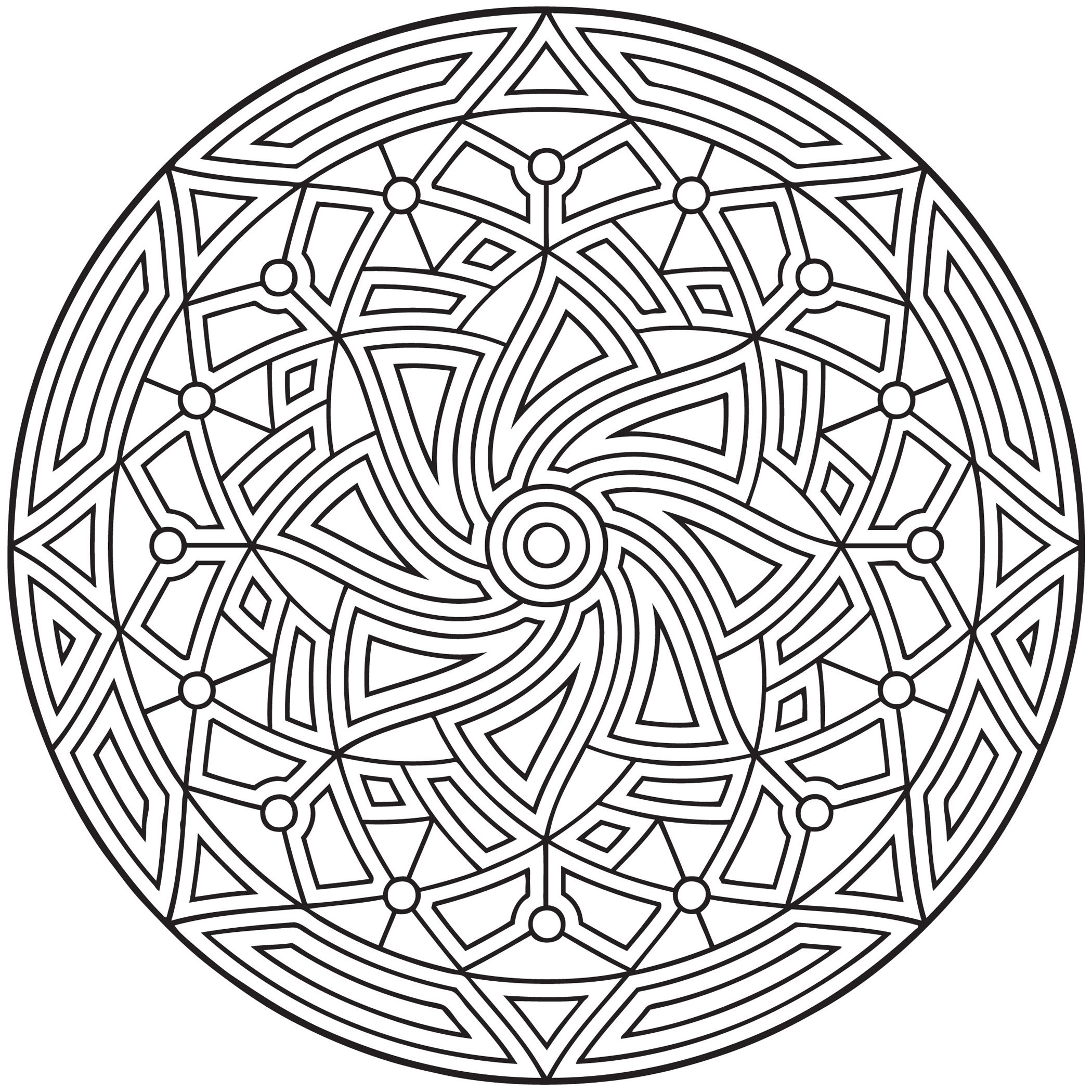 Free printable geometric coloring pages for kids for Circle pattern coloring pages