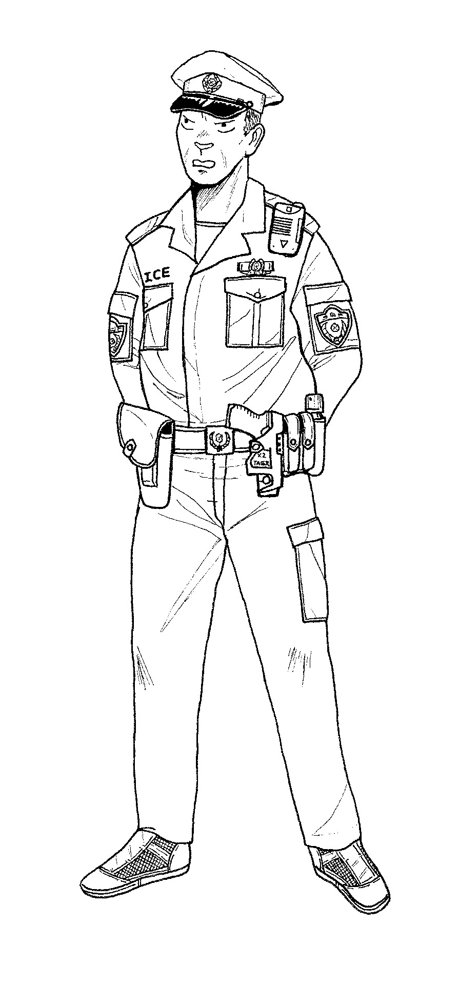 Line Art Uniform : Free printable policeman coloring pages for kids