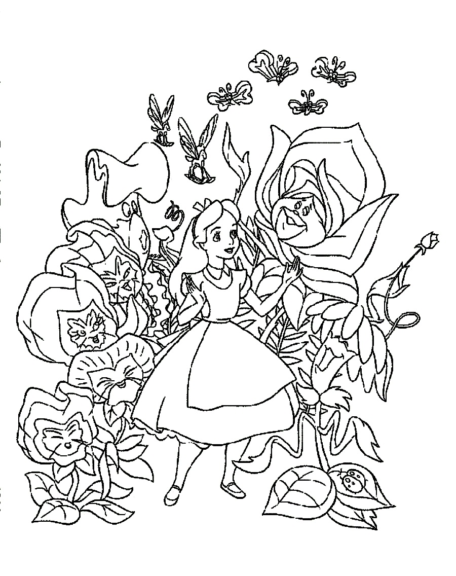 speaking flowers and alice in wonderland coloring pages - Alice Wonderland Coloring Page