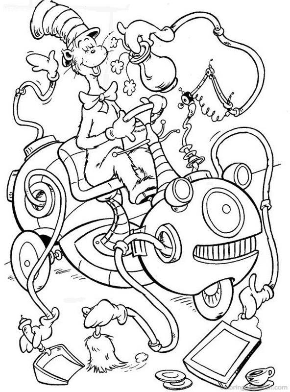 Modest image throughout cat in the hat coloring pages free printable
