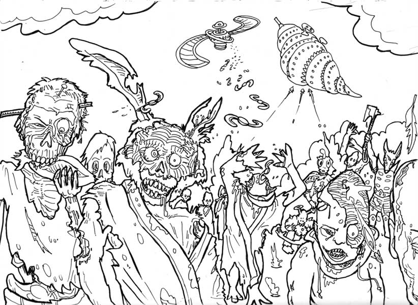 zombies coloring pages - Zombie Coloring Pages