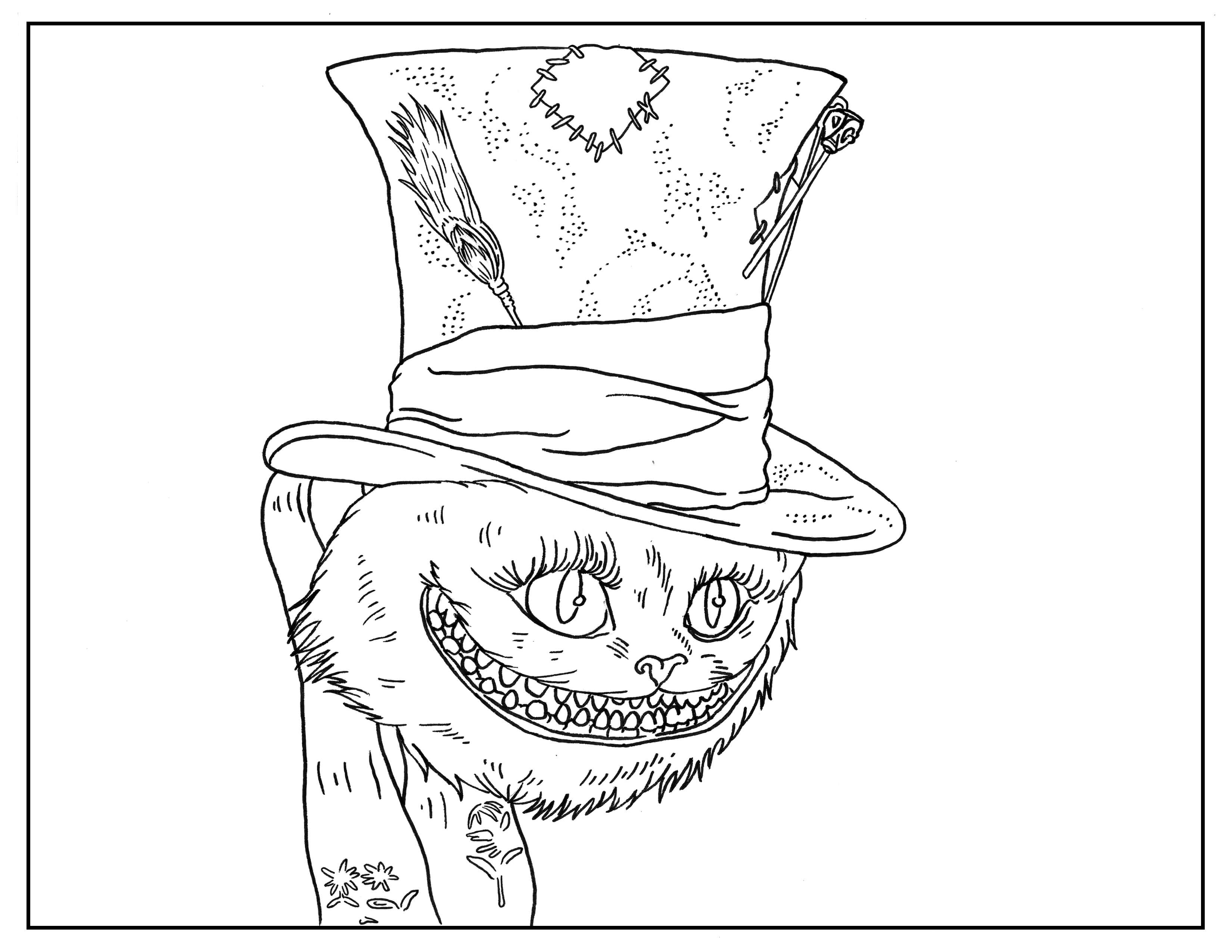 Free coloring pages alice in wonderland - Alice In Wonderland Adult Coloring Book Page