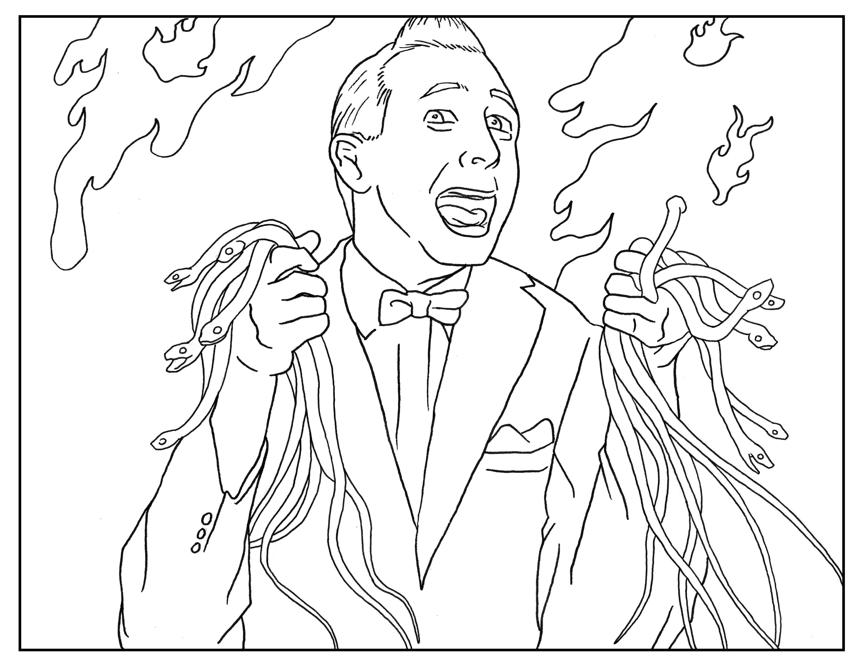Coloring book pages halloween - Pee Wee Herman Adult Coloring Book Page