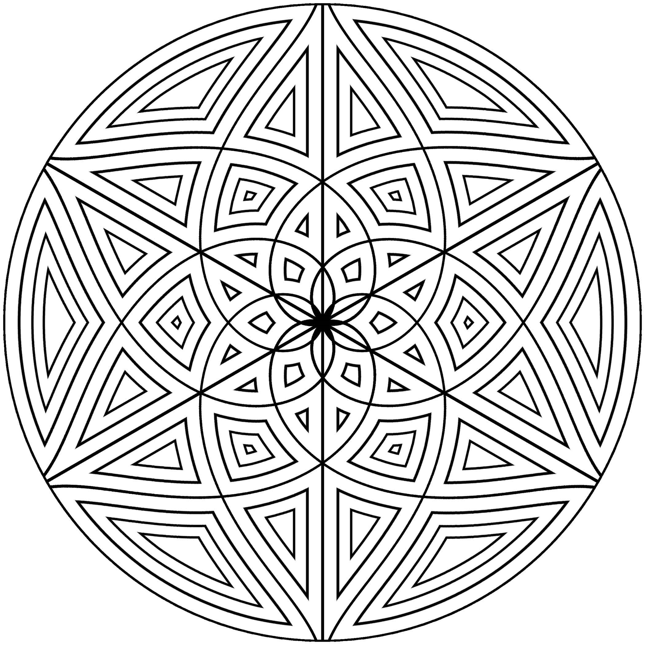Free printable geometric coloring pages for adults for Circle pattern coloring pages