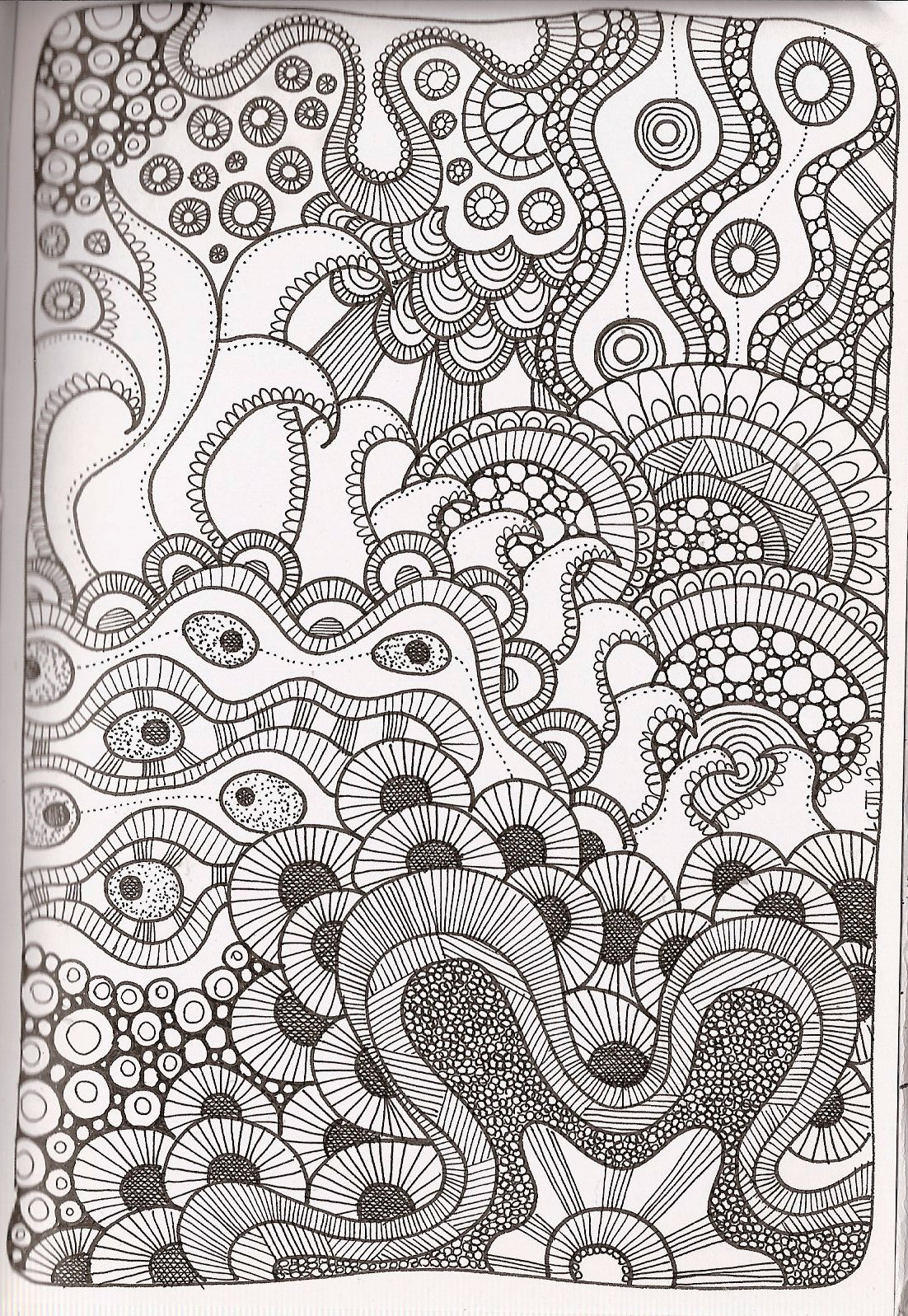 Line Art Zentangle : Free printable zentangle coloring pages for adults