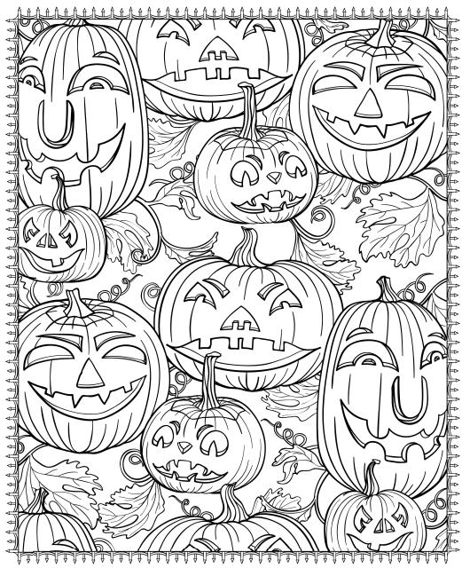 Free printable halloween coloring pages for adults best for Pumpkin coloring pages for adults