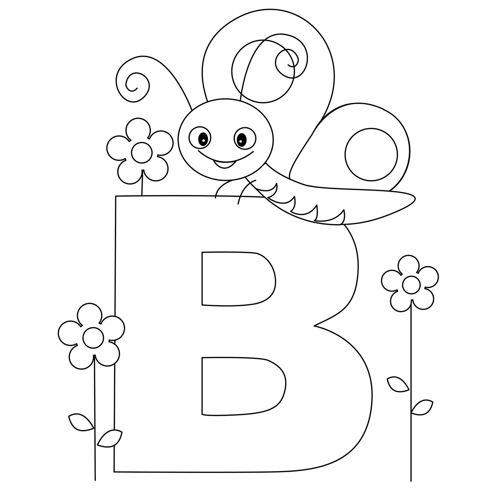 alphabet coloring pages letter b
