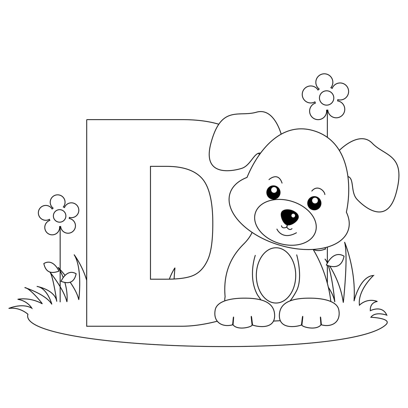 letter d coloring pages preschool black | Free Printable Alphabet Coloring Pages for Kids - Best ...