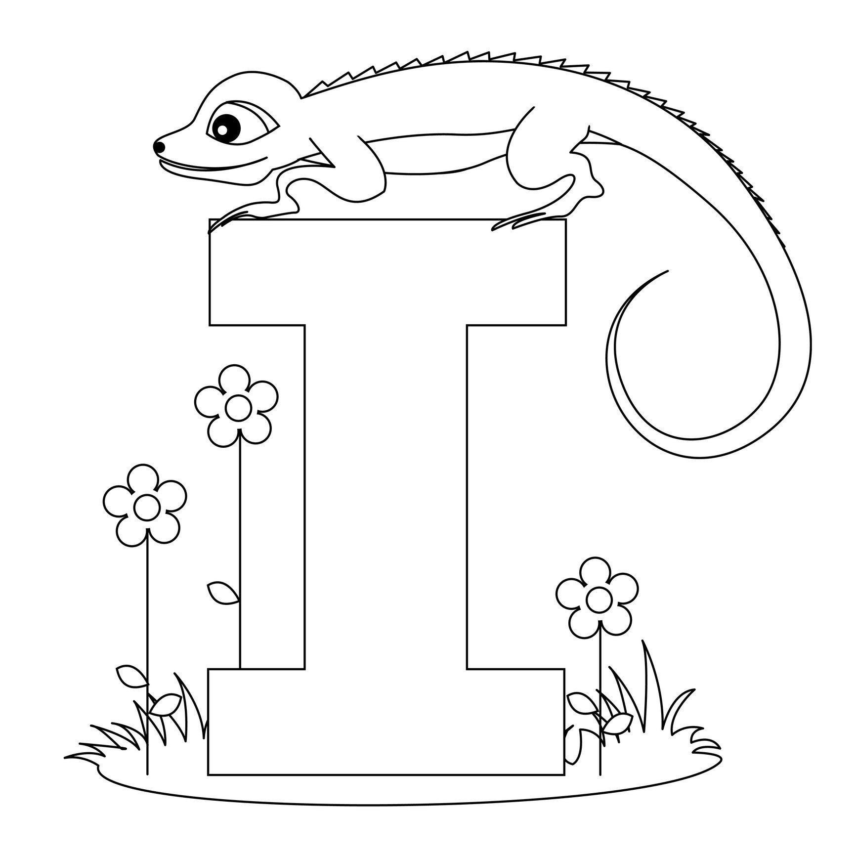Alphabet i coloring pages - Alphabet Coloring Pages Letter I